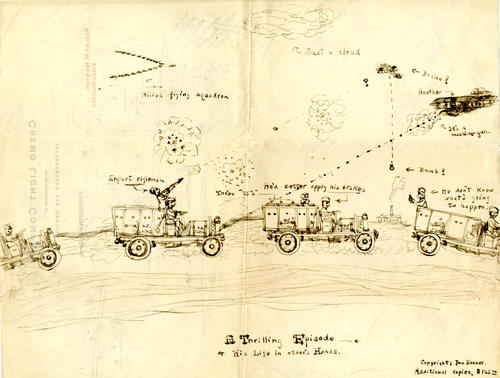 Drawing depicting an attack on Allied(?) troops