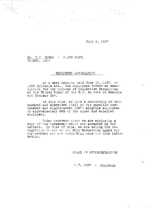 Memo to Mr. T.F. Burns, Plant Supt. Concerning the formation of the first Employees Association on July 6, 1937 (Photocopy of the original.)
