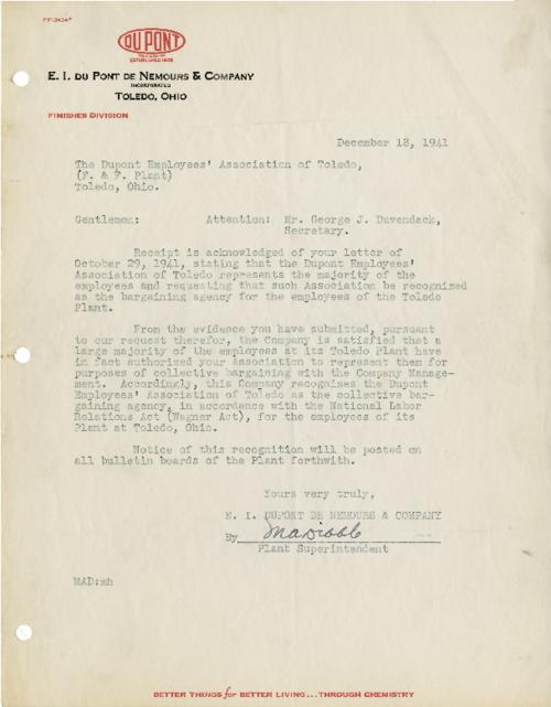 Memo from the DuPont company recognizing the Employees Association as the speaker for the majority of employees. (Original memo.)
