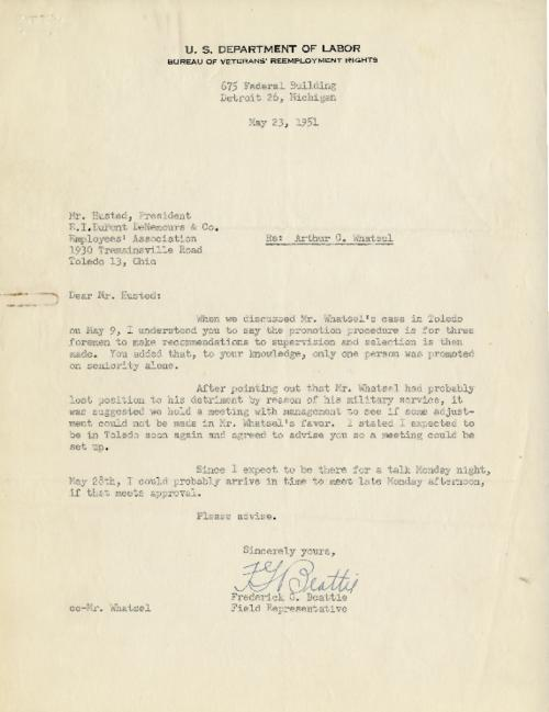Memo concerning Mr. Whatsel's promotion and or lack there of because of his military service. (Original memo.)