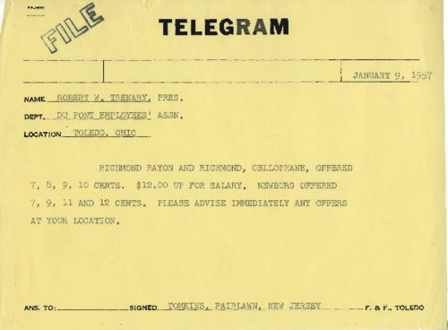 Telegram sent from New Jersey informing the Toledo plant on the wage increases offered, and asking for any news they may have. Another telegram is available in the file from a different area concerning the same negations (original telegram)