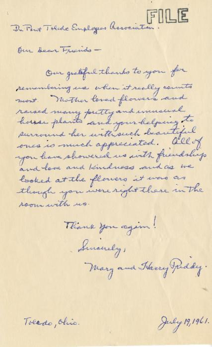 Handwritten thank you note from Mary and Harry Pridly to the employees association for their contribution of flowers to the funeral service of a family member. (Handwritten original)