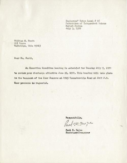 Letter to William M. Scott concerning his request for a hearing to discuss the matter of his discharge. (File copy)