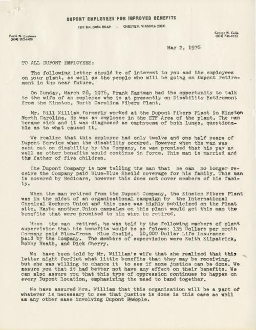 Memo asking members of other DuPont plants and employees to keep the story of Frank Eastman in mind and his struggle and lack of compassion and the company's broken agreement regarding his retirement benefits. (file copy)