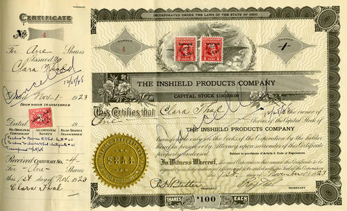 $100 Stock certificate purchased by Clara Thal on 11/1/1923