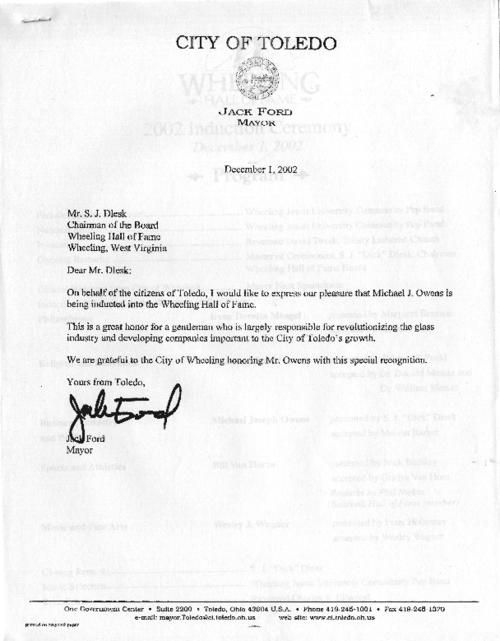 Thank you note from Toledo Mayor Jack Ford to Mr. S. J. Slesk in Wheeling West Virginia