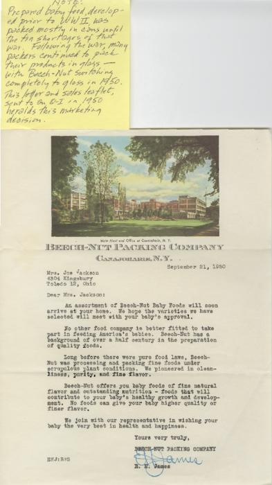 Letter from Beech-Nut Packing Company informing a potential O-I employee of the benefits of Beech-Nut products.  A handwritten historical note by Jack Paquette.