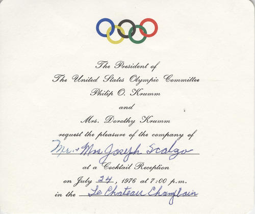 Invitation to a cocktail reception for Joseph Scalzo from the president of the USOC