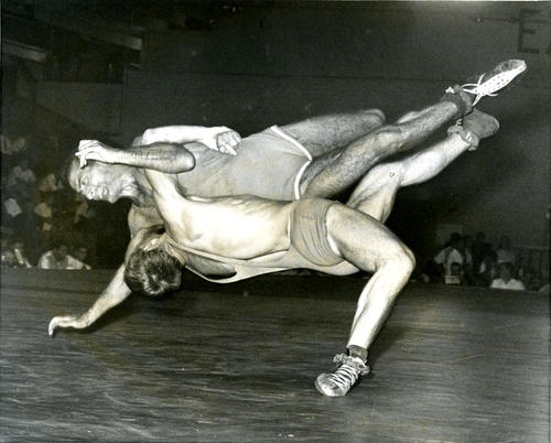 Photograph from the Amateur World's Wrestling Championships, 1962.