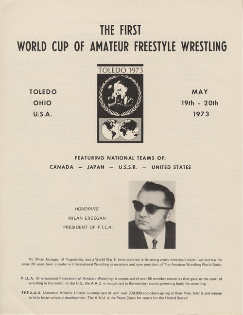 Program for the First World Cup of Amateur Freestyle Wrestling that details participants, committee, sponsors, etc.