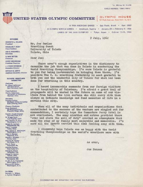 Letter from Joe Hensen of the United States Olympic Committee. This letter to Joseph Scalzo concerning the Amateur World's Wrestling Championships commends Scalzo and the city of Toledo for their hospitality.