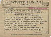 Telegram from Harry Freeman to Joseph Scalzo