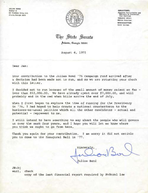 Letter from U.S. Senator Julian Bond re: contribution made by Suter to Bond's 1976 campaign