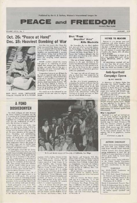 Issue of Peace and Freedom, published by the U.S section of the Women's International League for Peace and Freedom