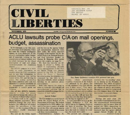 Article from Civil Liberties newspaper re: ACLU lawsuits against the CIA