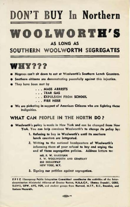 Flyer protesting segregation at Woolworth's stores in the South
