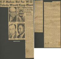 """K-F Makes Bid for W-O; Toledo Would Keep Plant"" (Toledo Blade, March 24, 1953)"