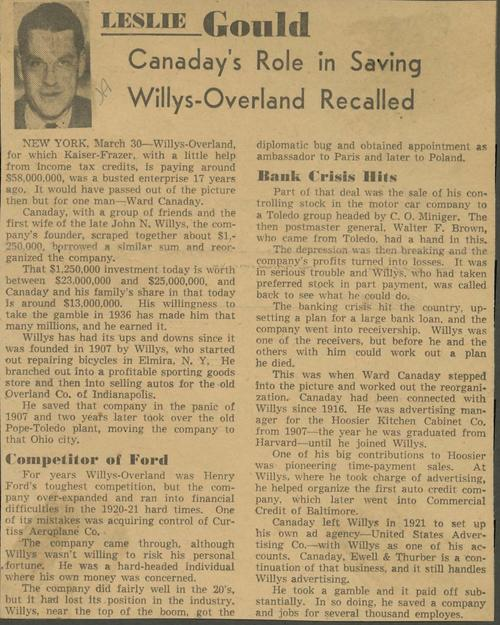 Opinion piece by Leslie Gould about the role Canaday had in saving Willys-Overland