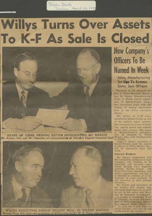 Article releasing the details of Willys officially concluding the sale to Kaiser-Frazer and turning over assets