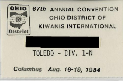 Conference badge for the 67th Annual Convention of Kiwanis International held in Columbus, August 16-19, 1984