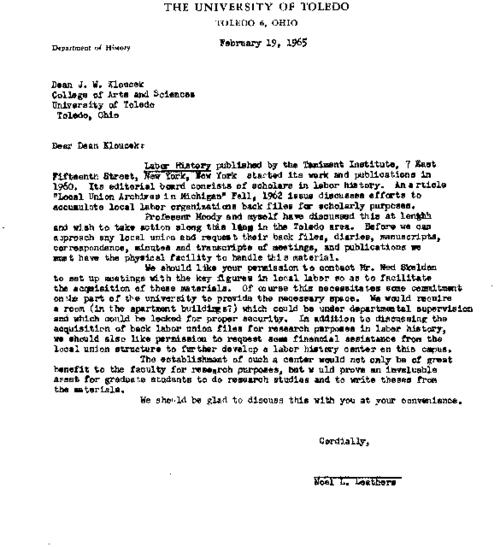 Letter from Noel Leathers to J. W. Kloucek, Dean of College of Arts and Sciences, regarding the planning of a regional labor archive, A reply from the dean was not found in this collection; The College of Arts and Sciences has ceased to exist in 2011 as a result of a university reorganization
