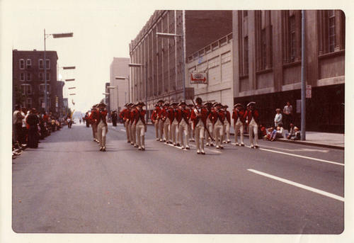American Revolution Bicentennial Parade in Toledo 1976. Third shot of the formation  near a parking garage on 200 block St. Clare near Madison