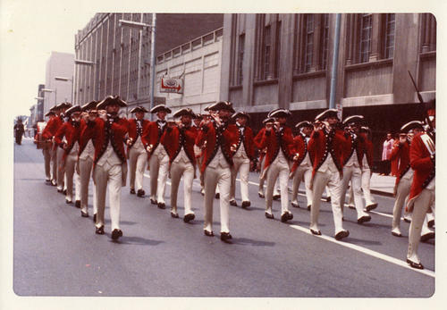 American Revolution Bicentennial Parade in Toledo 1976. Fifth shot of the formation near a parking garage on 200 block St. Clare near Madison