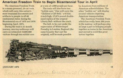"American Freedom Train to Begin Bicentennial Tour in April. News Clipping detailing the Freedom Train and the ""Children's Gift Bell,"" and vehicles of American Transportation that would be showcased on  bubble cars of the train."