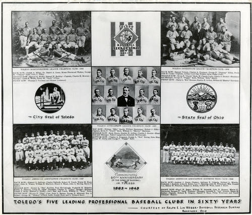 Toledo's Five Leading Baseball Clubs in Sixty Years. Reproduced photo of a plate commemorating Toledo's 60th Anniversary of baseball - 1883-1943. This picture identifies the players in each picture by their full name and team.