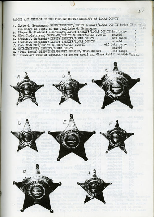 Badges of Toledo and Lucas County Ohio. Known Badges of Township Fire Departments in Lucas County from 1936 - present with captions