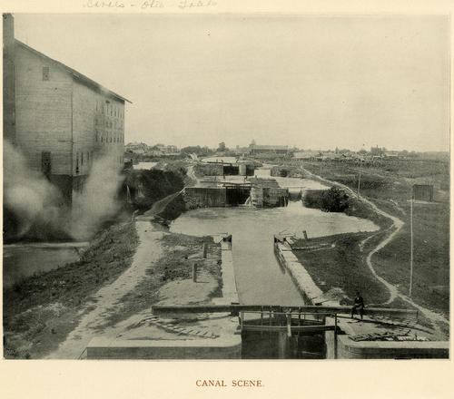 Canal Scene. Photo showing an industrial era scene on the canals in Toledo, Ohio