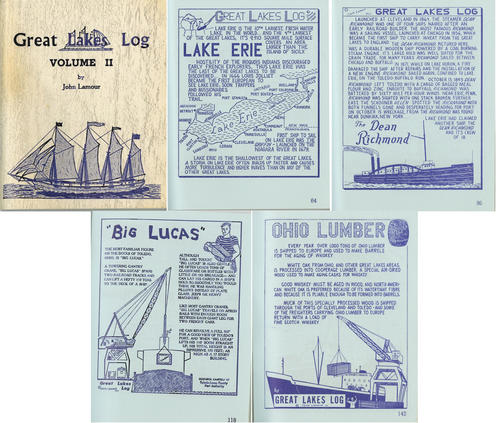 Great Lakes Log Volume II by John Lamour. This small book gives details the ships of the Great Lakes, the pages present show Toledo's influence on the Great Lake Erie.