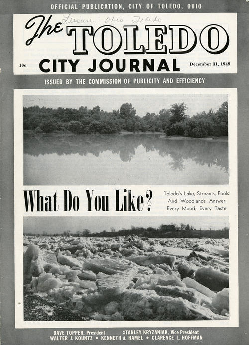 The Toledo City Journal - What do you like?. Torn cover of a magazine released in 1949 where the cover story is advertising the nature that Toledo offers as a cure for every mood.