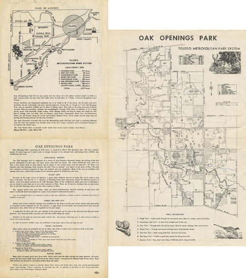 Map of the Toledo Metropolitan Park System in Ohio with a break down of the. The inside of the booklet shows the Oak Openings Park and shows the trails and locations of each trail.
