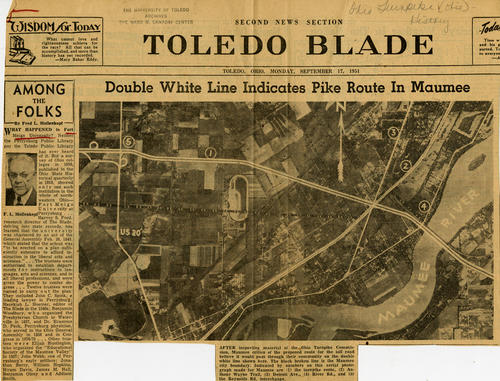 Second News Section from the Monday September 17, 1951 edition of the Toledo Blade that discusses the new Turnpike route in Maumee. This paper clipping, also has a side article that talks about the Fort Meigs University that has no record.