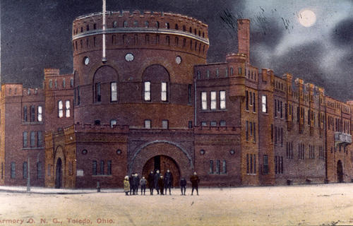 "Armory O. N. G., Toledo Ohio. the back of the photo reads ""the armory - built 1891 - burned 1934 - Photo in early 1900's Spielbusch at Orange"