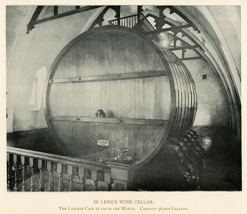 In Lenk's Wine Cellar - The Largest Cask in use in the World. Capacity 36,000 gallons. Photo cut from a photo book. No information about whether the cask is still in use or when this photo was taken.