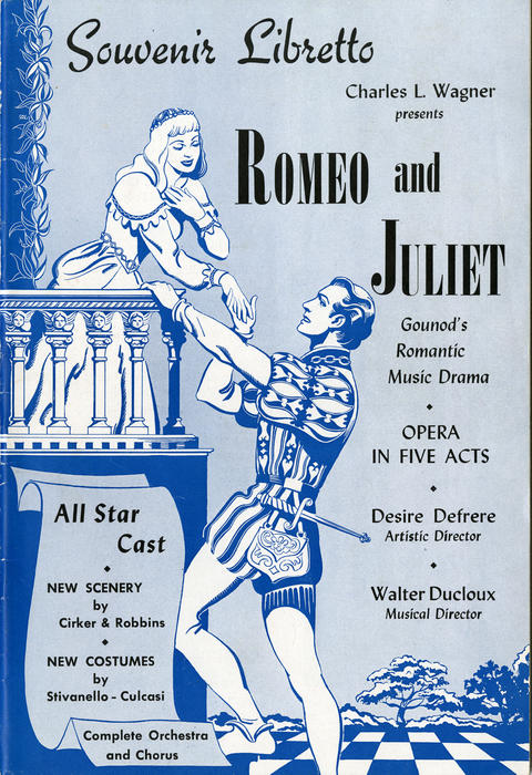 Souvenir Libretto Charles L. Wagner Presents Romeo and Juliet Gounod's Romantic Music Drama. Play booklet from the play that contains the music and the lyrics for the musical. It also contains biographies for each cast member. This play took place at the Paramount Theater in Toledo.
