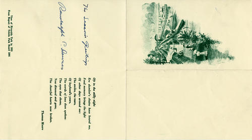 View of Riverside Park in 1895. This is a four-folding Christmas card  that features a scene of Riverside Park in 1895 that also has a poem from Thomas Moore