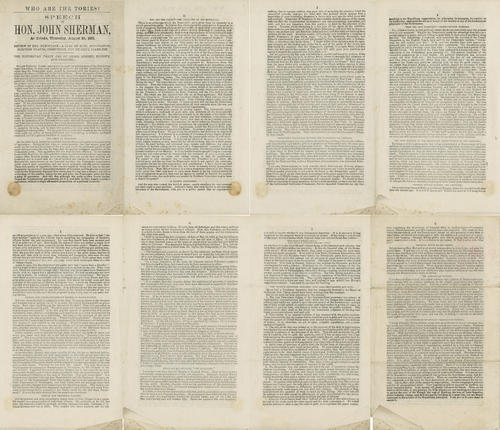 Who are the Tories? Speech of Hon. John Sherman, at Toledo, Thursday, August 24, 1871. This is a reprinted speech from Hon. John Sherman. The speech is printed on both sides with pages numbered oddly.
