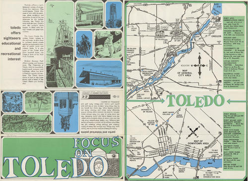 Focus on Toledo. Map that shows the important economic highlights of Toledo in a cartoonish way to make it simple and enjoyable for viewers.