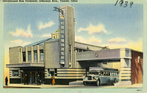 "Greyhound Bus Terminal, Jefferson Ave., Toledo, Ohio. Un-mailed postcard with a hand written note on back that says, ""late 1930's - The entrance shown on Jefferson was opposite the Secor Hotel, now called the 425 bldg - Busses went under the overpass and turned left, onto Superior."""
