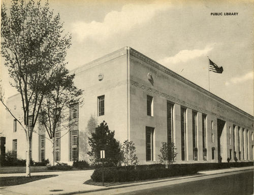 Public Library, Madison and Ontario Streets. Jumbo Postcard of the public library building that was completed in 1940 that was un-mailed.