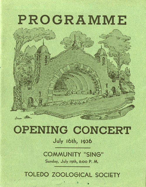 "Programme - Opening Concert, July 16th, 1936. Community ""Sing"" Sunday, July 19th, 8:00 P.M. - Toledo Zoological Society. Program for a local event with advertisements from 1936."