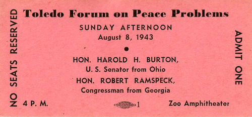 Toledo Forum on Peace Problems. Ticket for this forum.