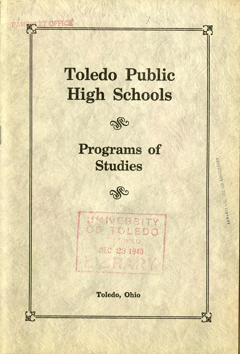 Toledo Public High Schools - Programs of Studies - Toledo, Ohio. Book that shows the courses available and information about it.