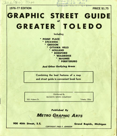 Graphic Street Guide of Greater Toledo 1976-77, including (many of Toledo's suburban areas. Street guide of all the streets in the area.