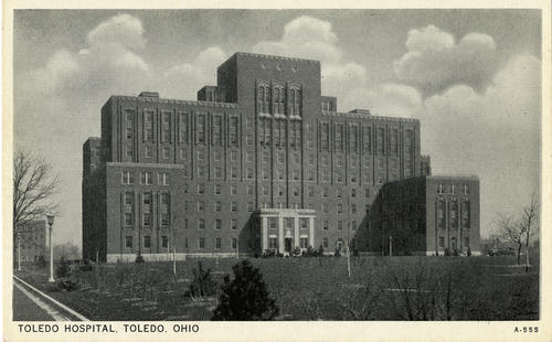 Toledo Hospital, Toledo, Ohio. Un-mailed postcard showing the front entrance of the Toledo Hospital circa 1930
