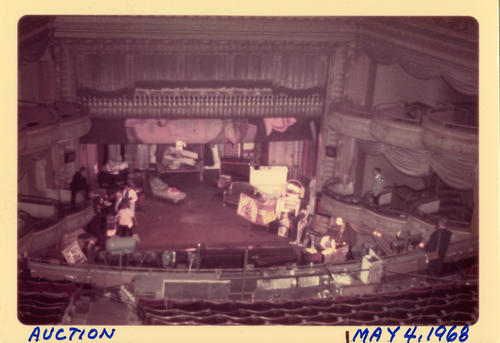Auction May 4, 1968. Interior of the former Town Hall Theatre during the auction before it's demolishment.