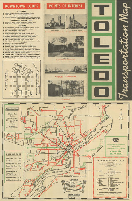 Toledo Transportation Map. Map containing bus routes and travel routes for public transportation in Toledo and the surrounding areas.